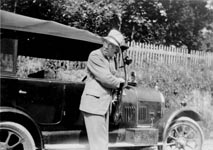 Mervyn's father Dr. Ernest Cromwell Peake known as 'Doc', with his 'Bullnose' Morris.