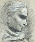 Laurence Olivier, pencil 1950. The original now hangs behind the bar at the 'actors club', the Garrick, in central London.