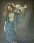 Maeve with Cat a painting by Mervyn of his wife, c1940